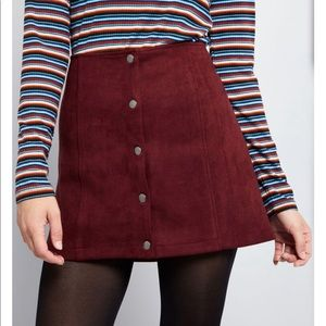 ModCloth Snappy and You Know It Mini Skirt Suede